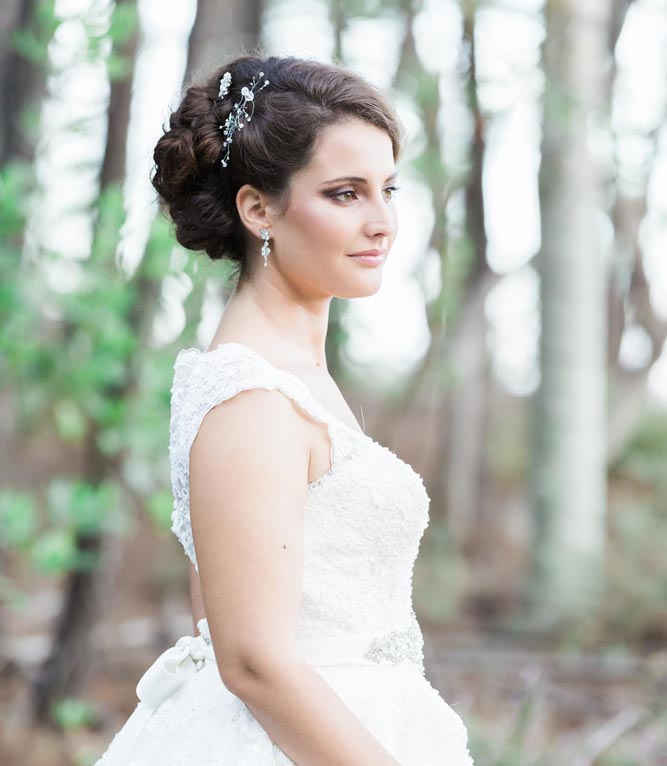 Classic bride outside, hair and makeup by Serena
