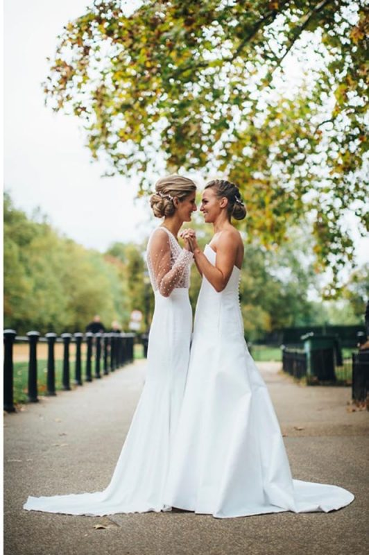 two brides in love, hair and makeup by Storme