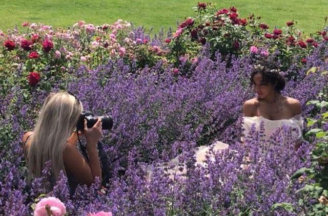 Behind the scenes photo shoot in Lavender bush