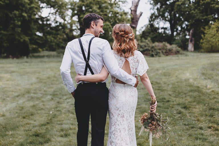 Boho bride and groom hair by Jennifer