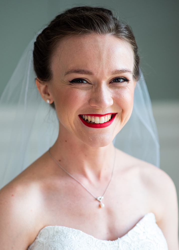 Bridal portrait, hair and makeup by Kim