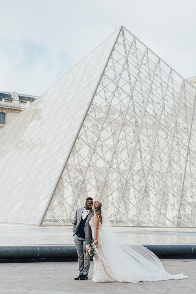 The Louvre Pyramid, bride and groom, hair and makeup by Storme