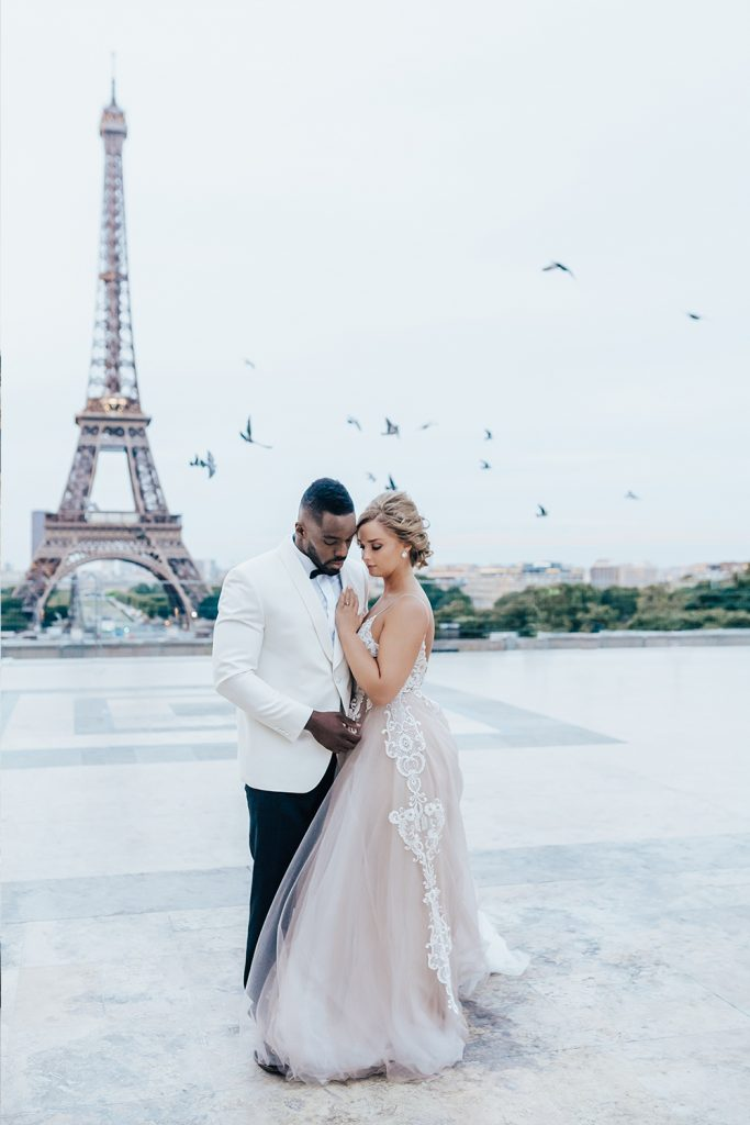 Eiffel Tower bride and groom, hair and makeup by Storme