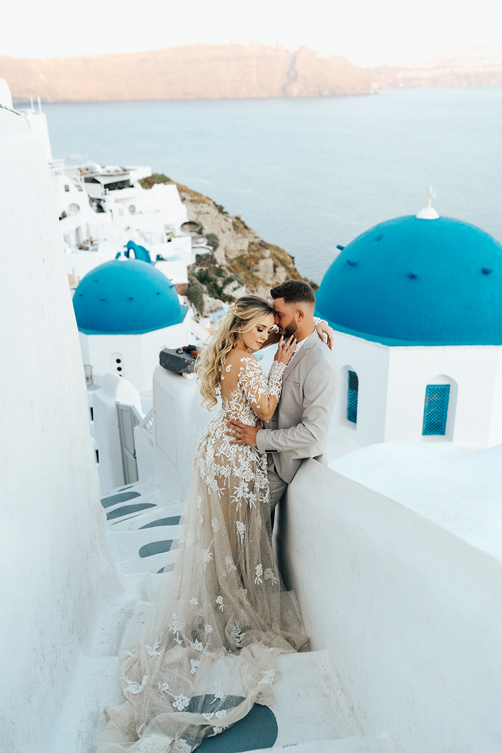Santorini bride and groom, hair and makeup by Storme