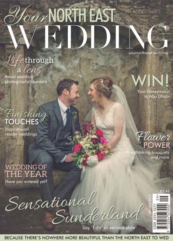 North East Wedding Magazine cover, hair and makeup by Charlotte