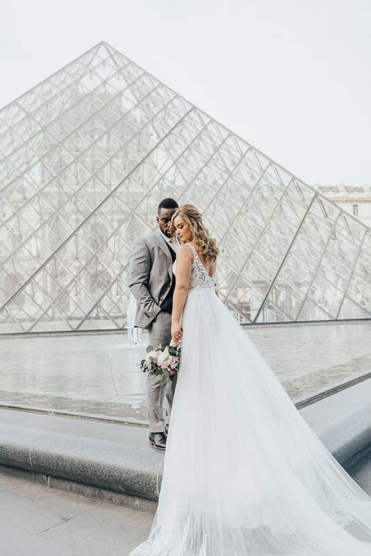 The Louvre bride and groom, hair and makeup by Storme