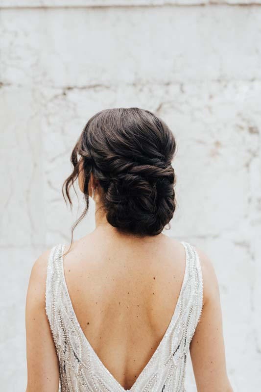 twisted brunette hair up by Storme