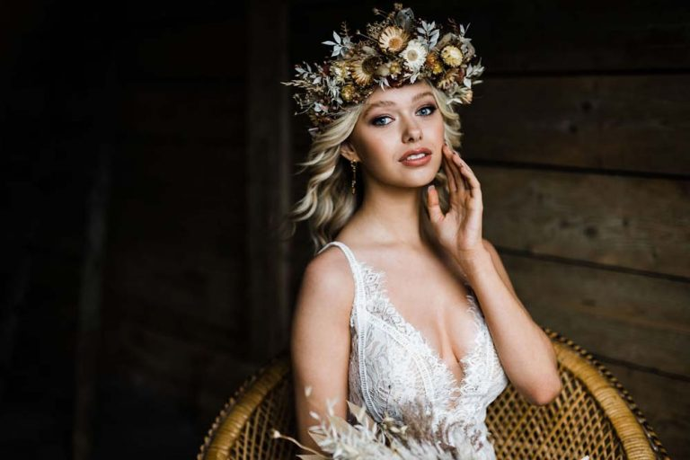 Floral head piece boho bride, hair and makeup by Storme