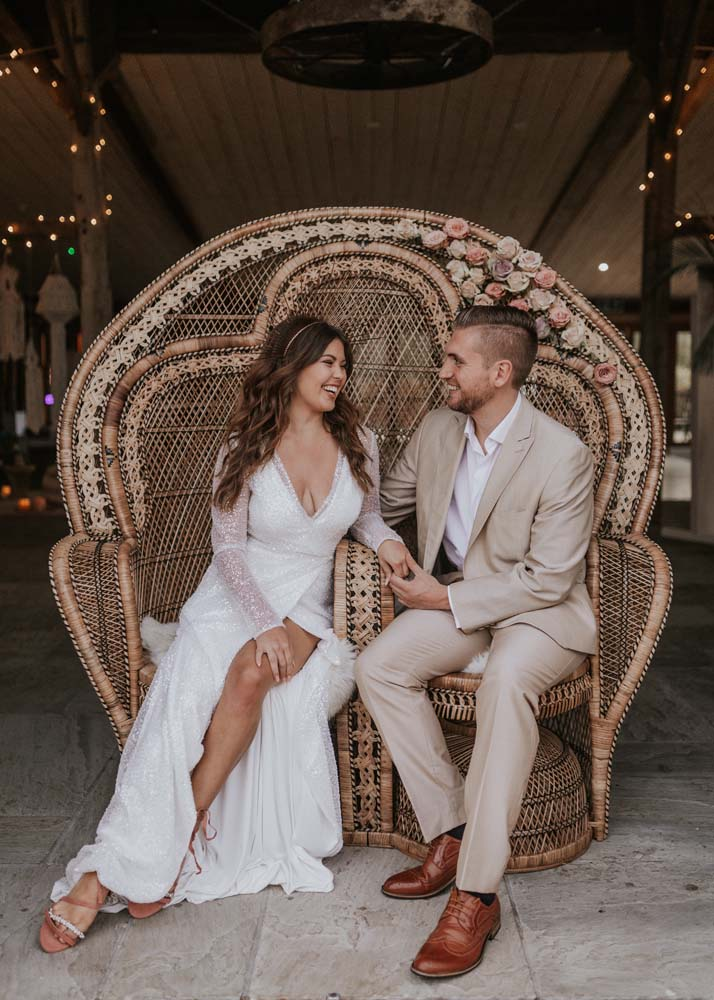 Boho bride and groom, hair and makeup by Storme