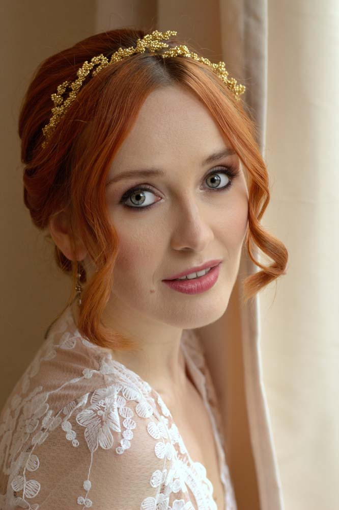 Red head bride to be hair and makeup by Storme