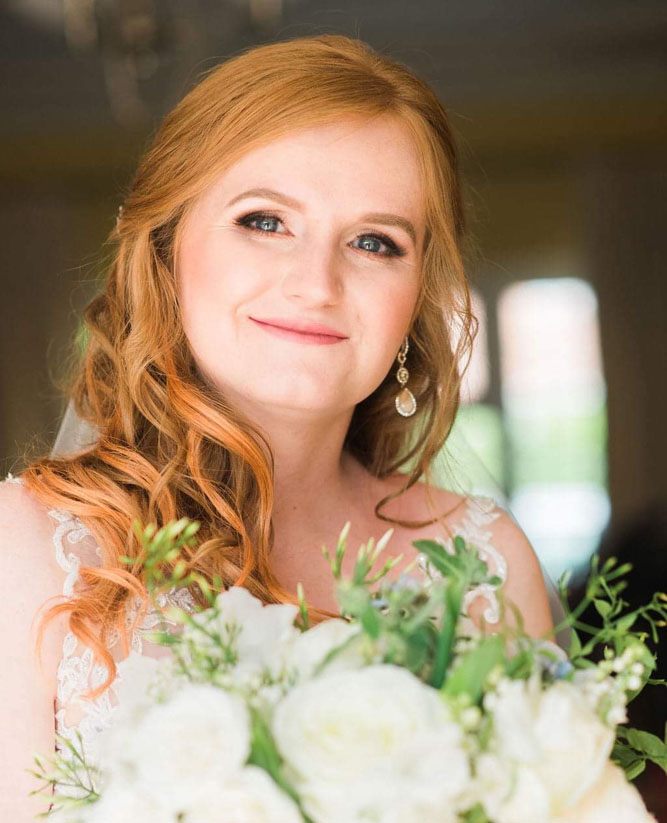 Red head bride, hair and makeup by Aga