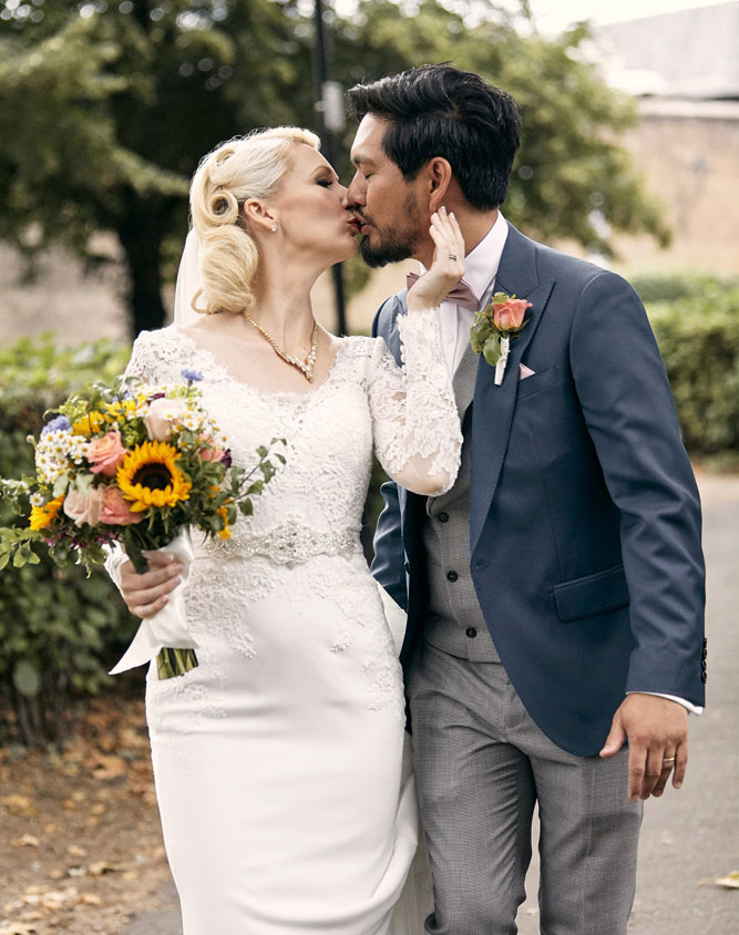 Bride and Groom, period style hair and makeup by Alice