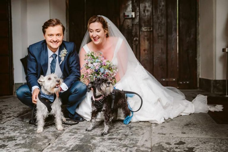 Bride, groom and dogs, hair and makeup by Michelle