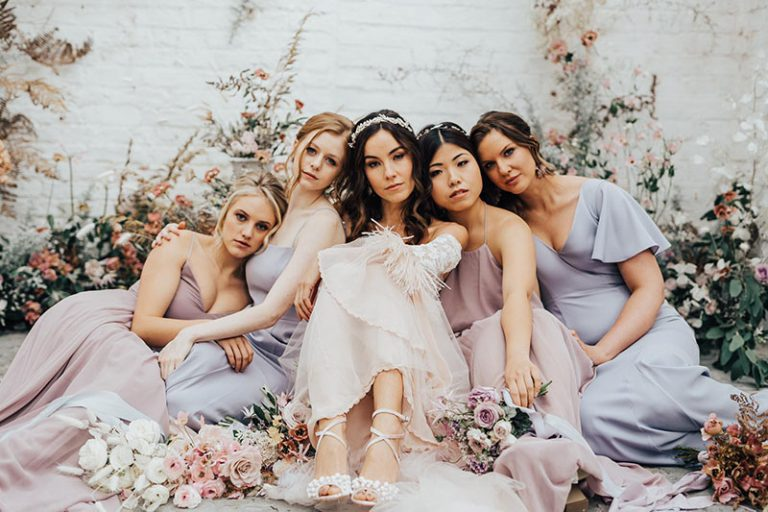 Together, pastel bridal party, hair and makeup by Storme
