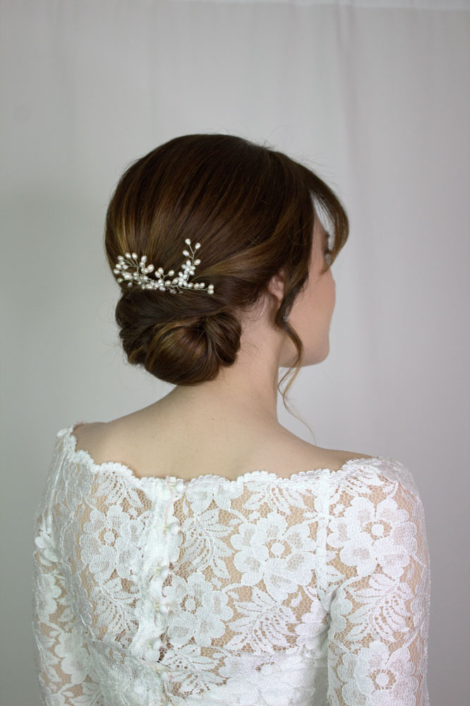 Bridal hair up low bun by Storme