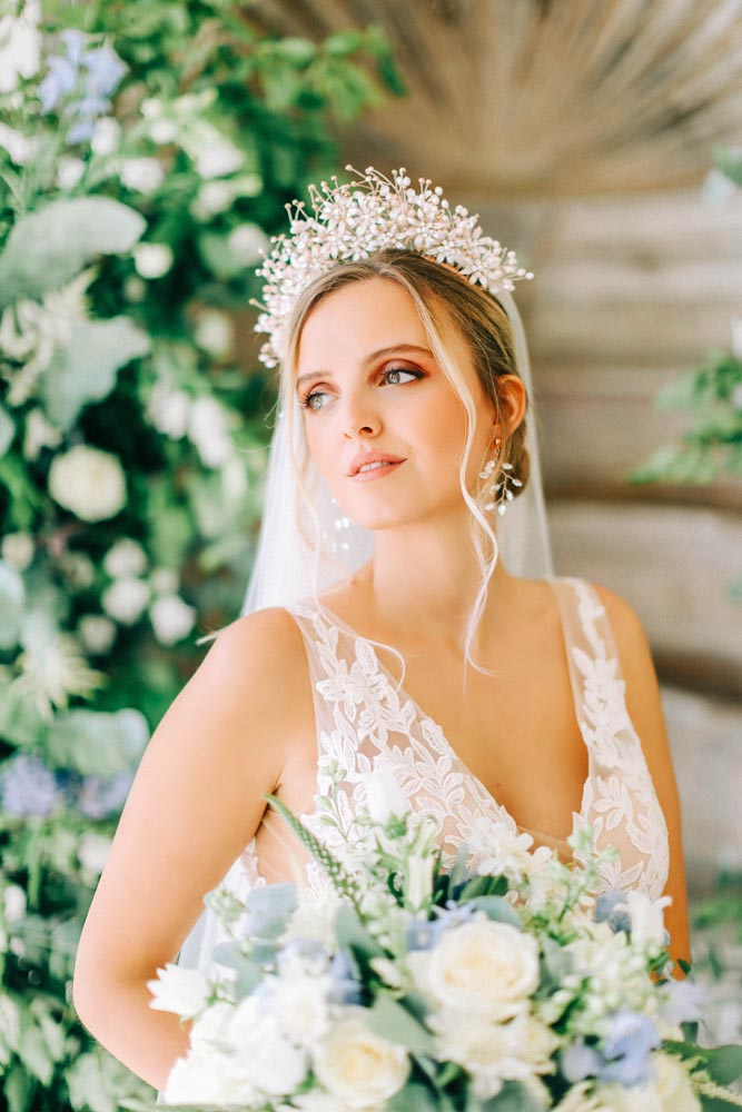 Romantic Wedding Makeup. Bride with statement hairpiece
