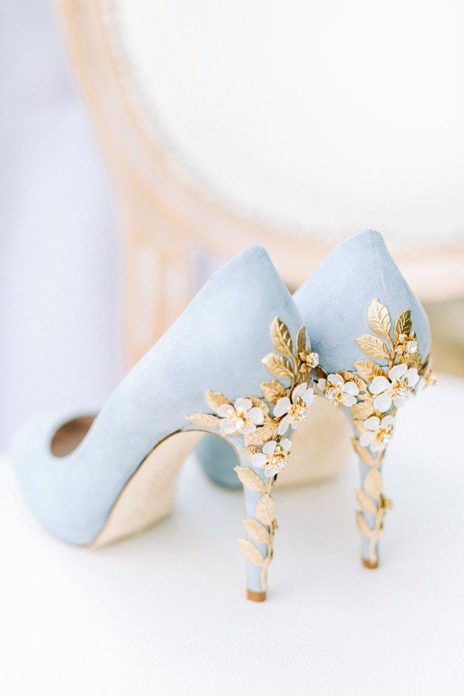 Pale blue wedding shoes