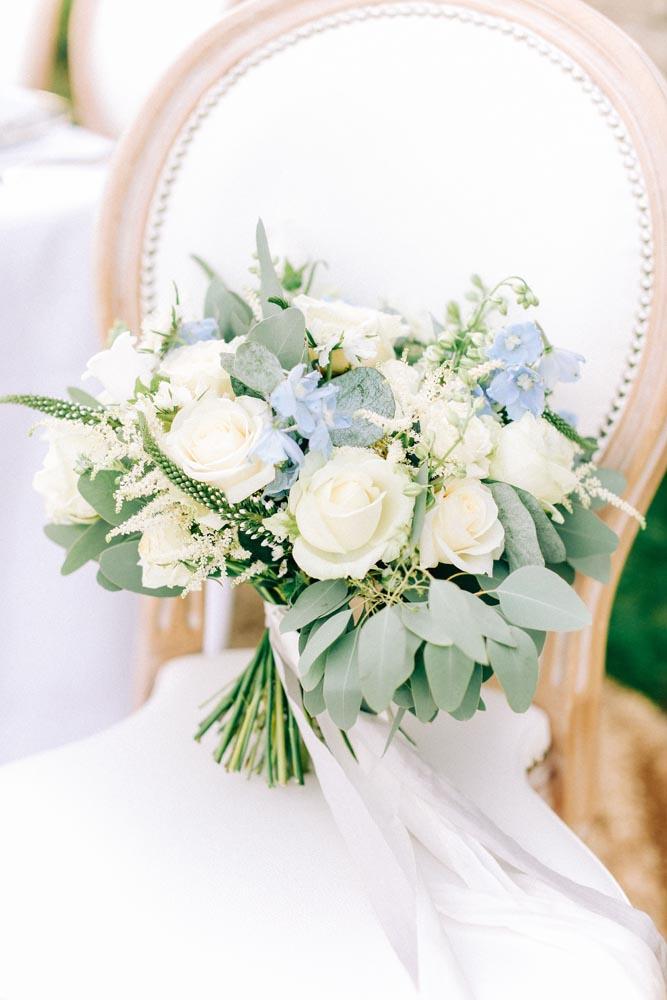 Pale blue bridal bouquet