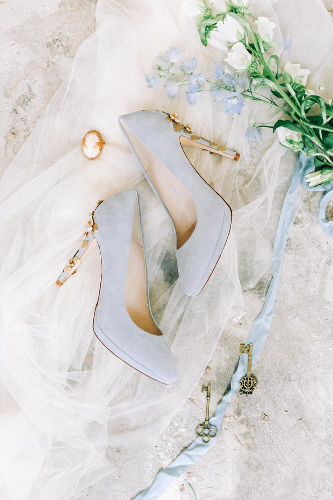 Wedding flatlay with shoes