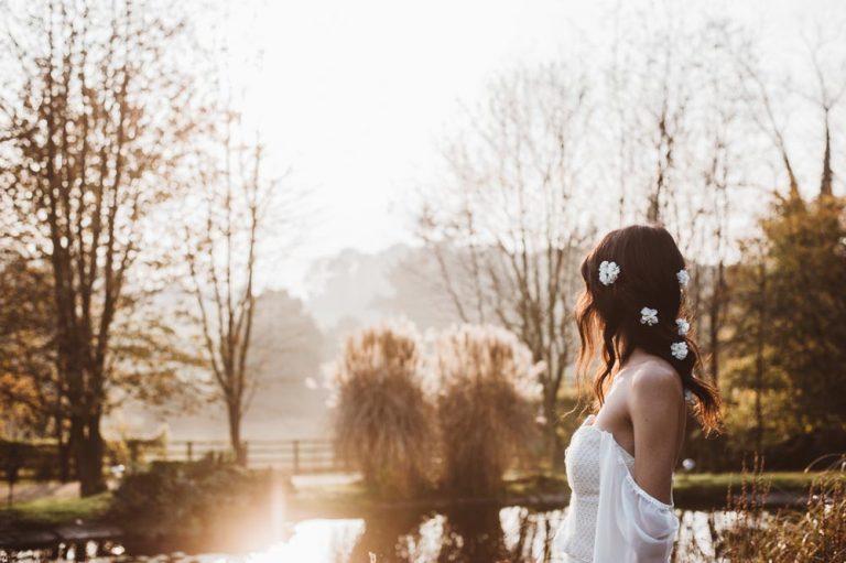 boho bride outside in sunset
