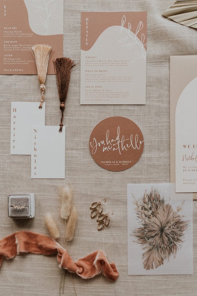 Natural Tone Stationary. Flatlay. Barn Wedding