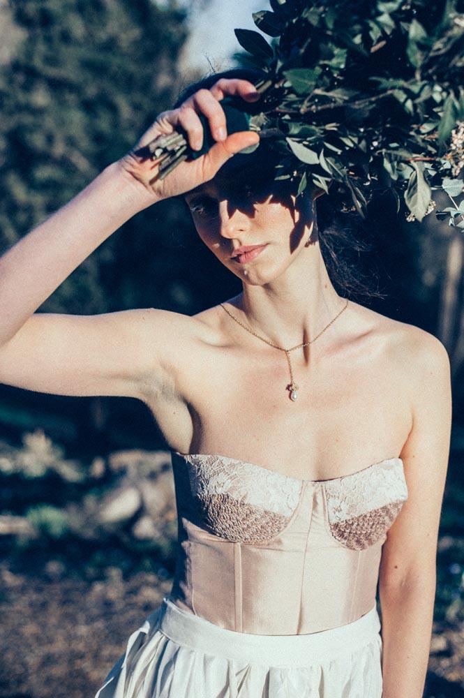 bohemian hair and makeup bridal portrait