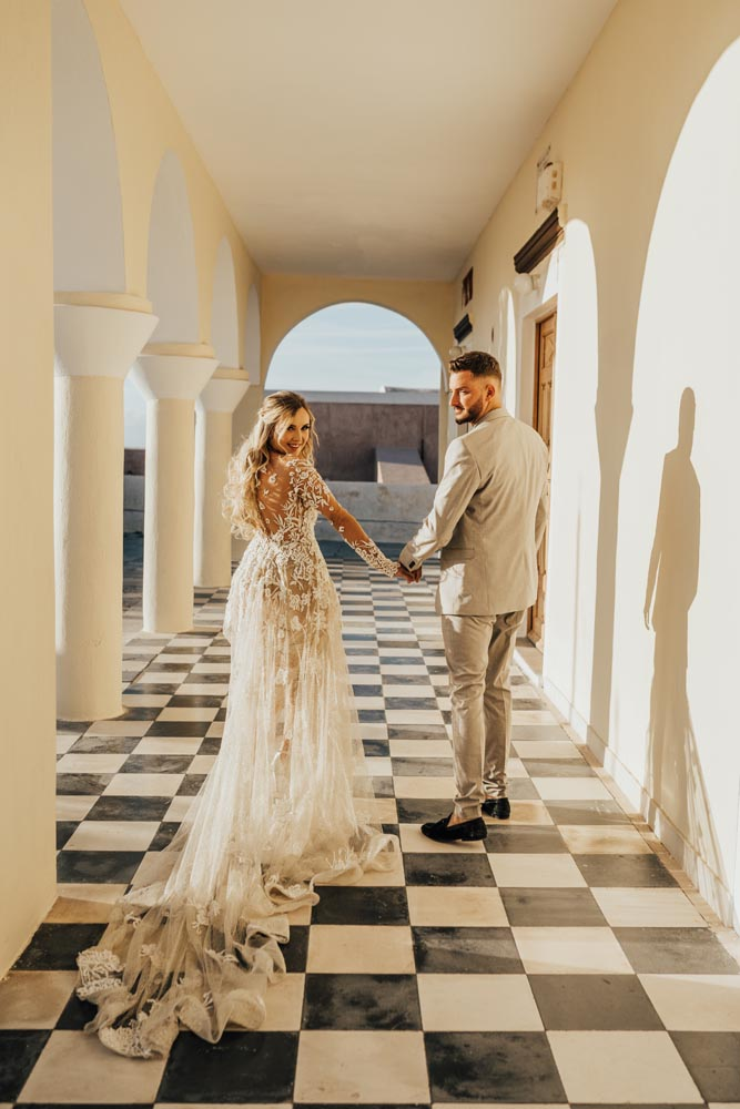 Santorini Greece Wedding Couple Portrait