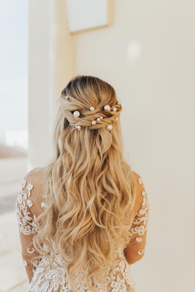 Santorini Greece Wedding Bridal Hair