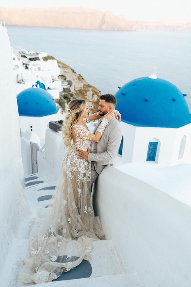 Santorini Done Bride and Groom