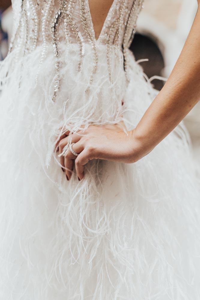 feather wedding dress Venice