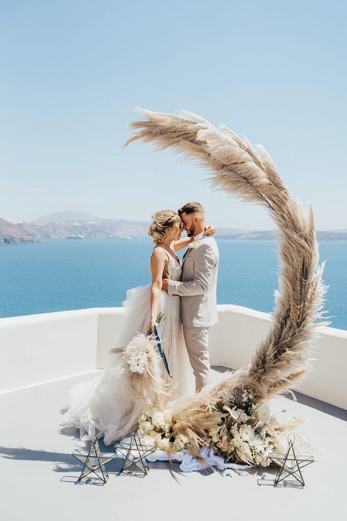 Santorini Under The Stars - bride and groom