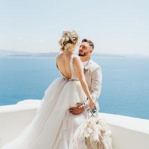 Greek Island Bride and Groom Santorini Heaven