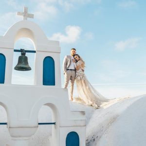 Greek Island Santorini Church Rooftop Bride and Groom