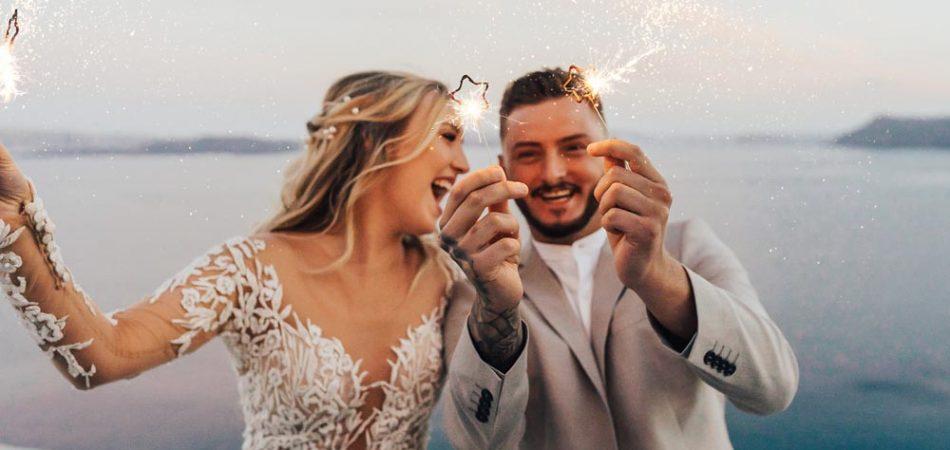Santorini Greece Wedding Couple Portrait