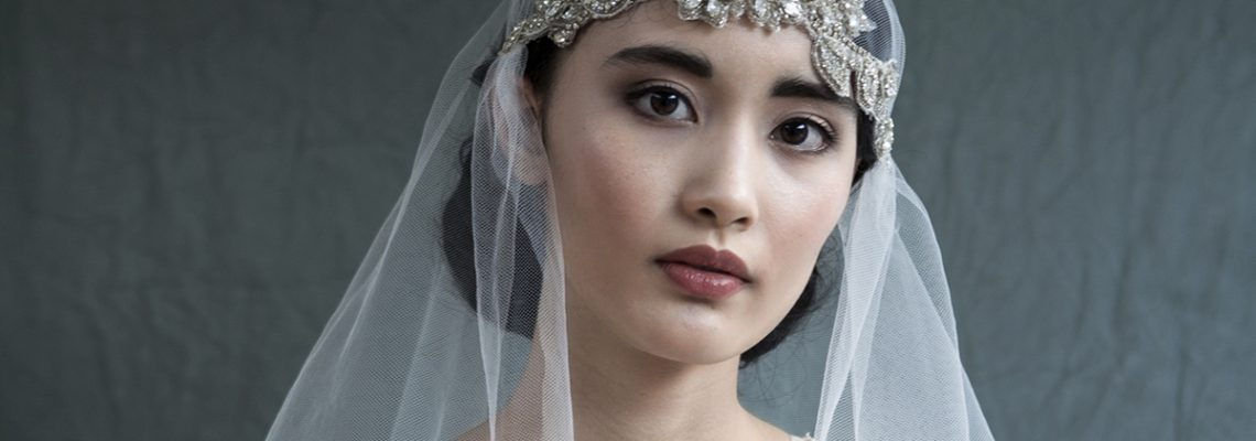 Vintage veil, hair and makeup by Storme