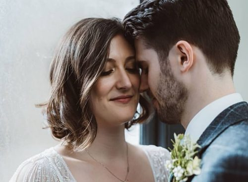 bride and groom close up, makeup and hair by Storme